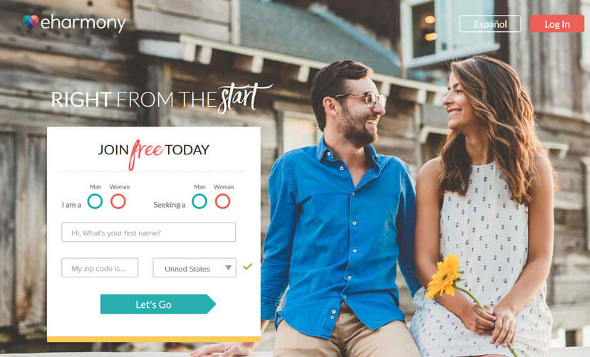 eHarmony printscreen homepage